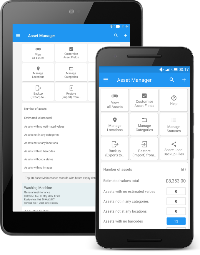 Asset Manager feature showing the clean home screen