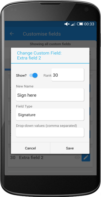 Asset Manager feature image showing screen to customise fields